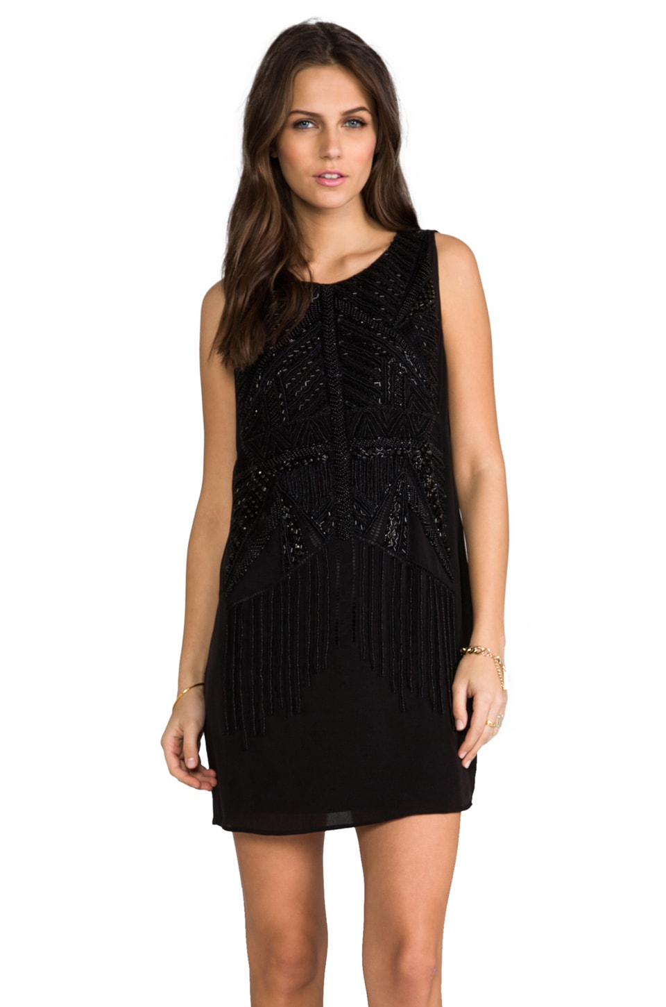Heather Embellished Mini Dress in Black