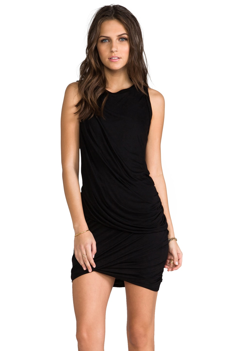 Heather Twisted Mini Dress in Black