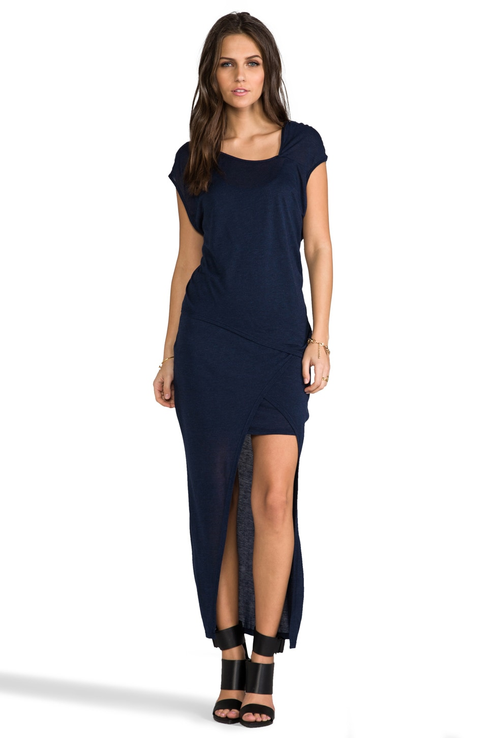 Heather Asymmetrical Double Drape Dress in Heather Midnight