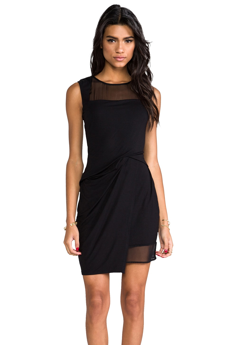 Heather Silk Layered Mini Dress in Black