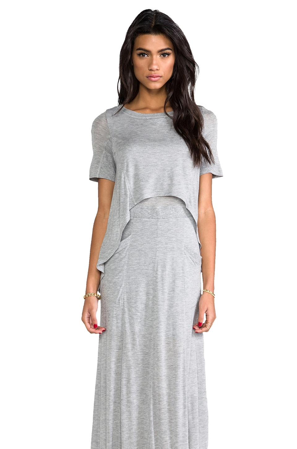 Heather Layered Maxi Dress in Light Heather Grey