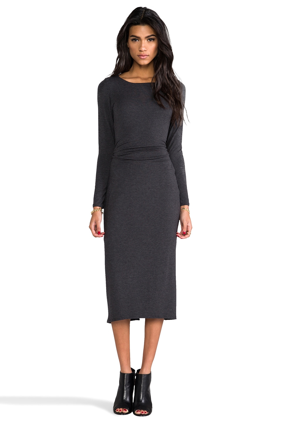 Heather Open Back Midi Dress in Heather Black