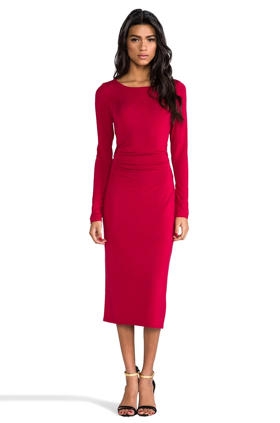 Heather Open Back Midi Dress in Heather Capri
