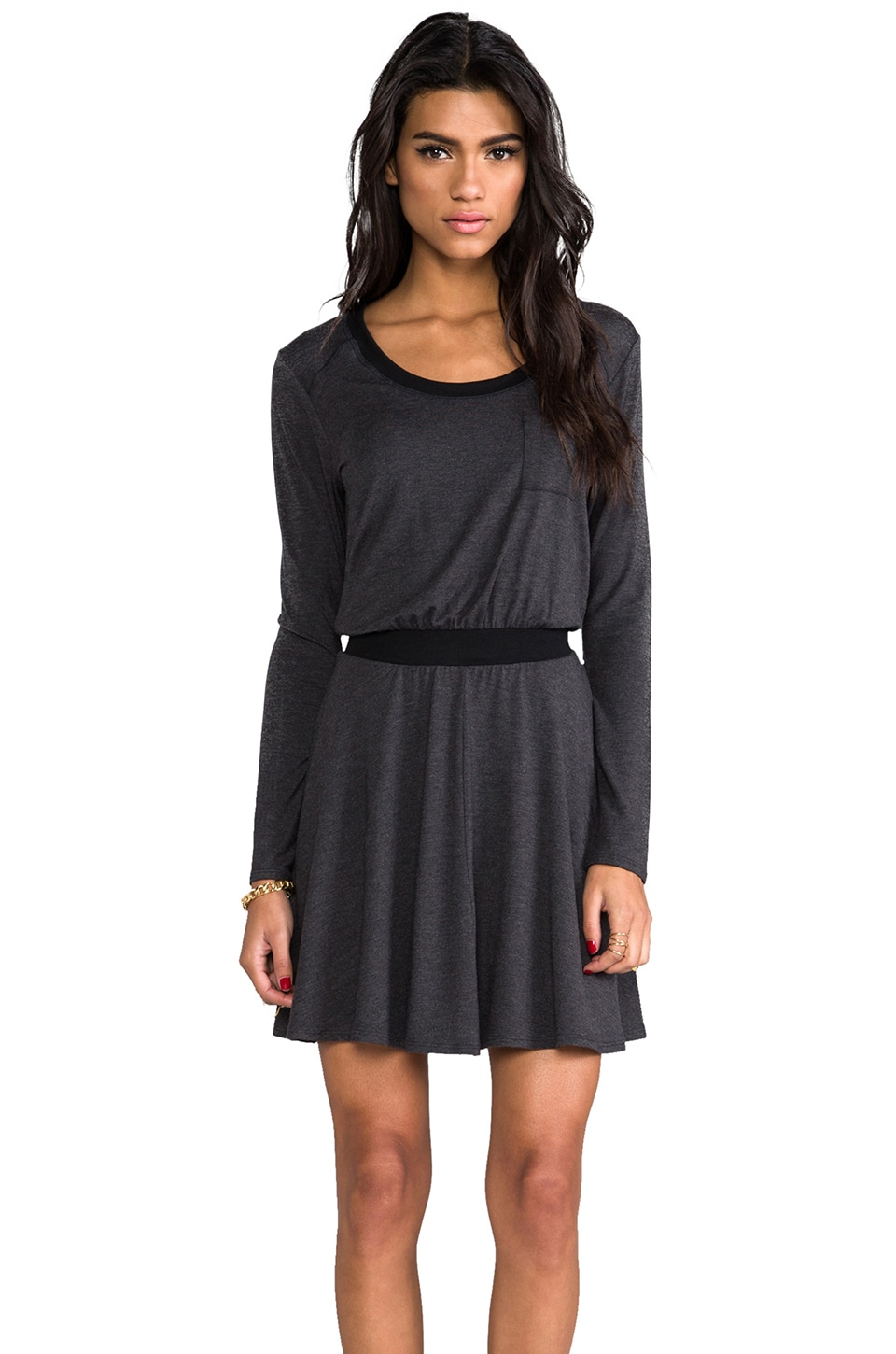 Heather Flounce Mini Dress in Heather Black
