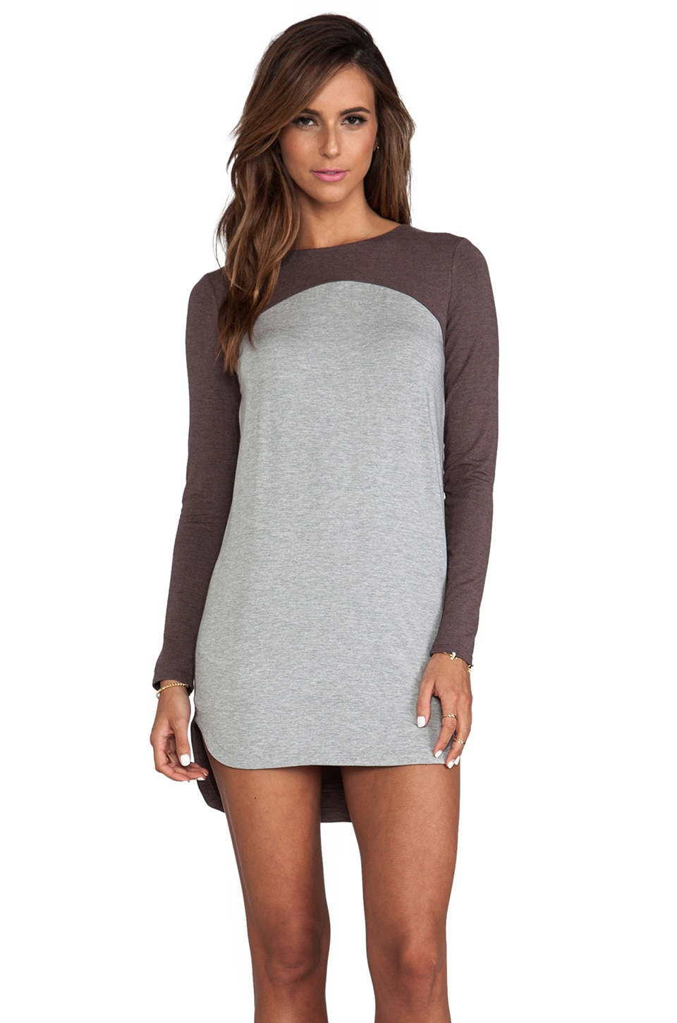 Heather Colorblock Shift Dress in Heather Mocha & Grey