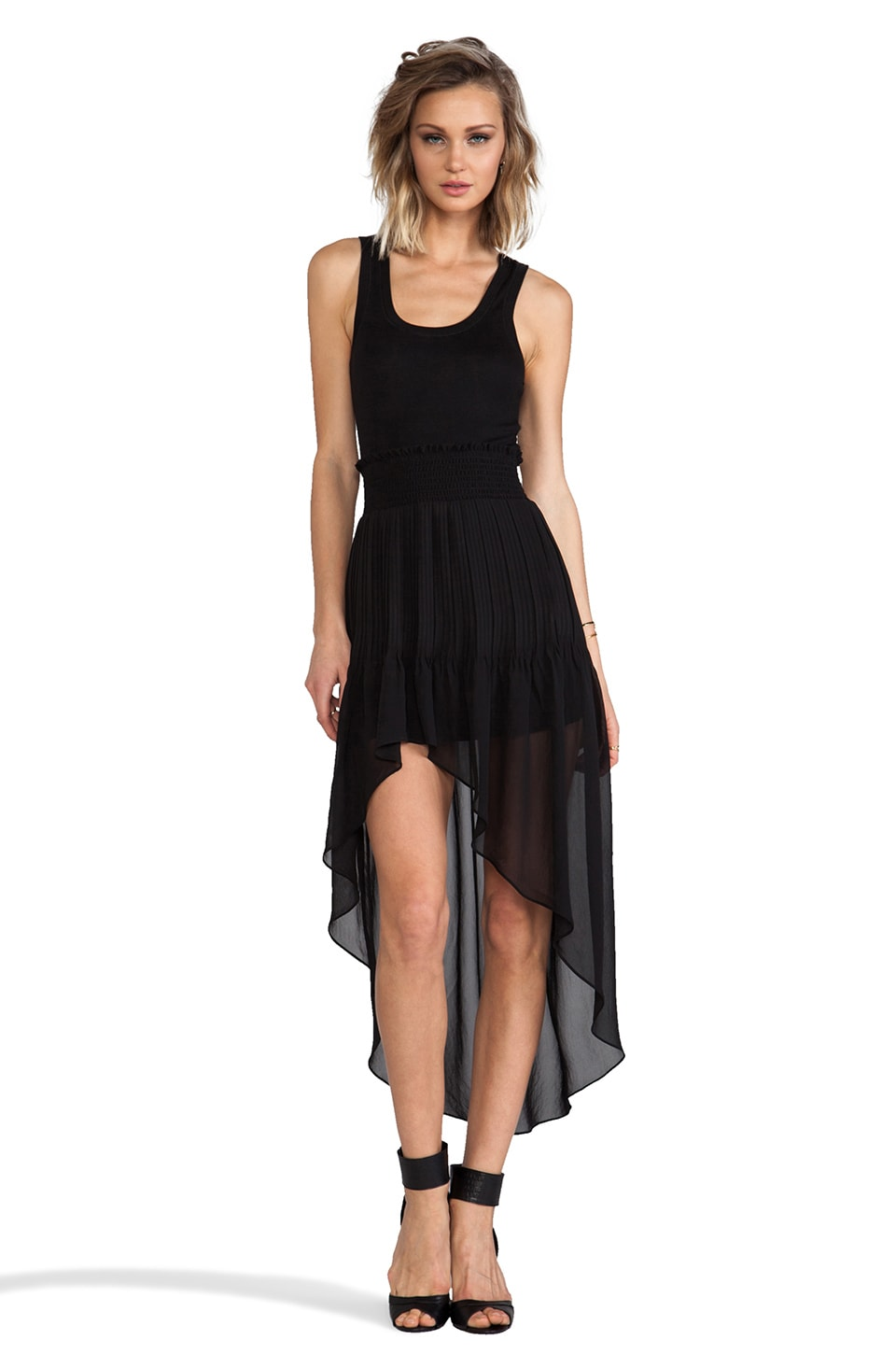 Heather Hi Low Pleated Maxi Dress in Black