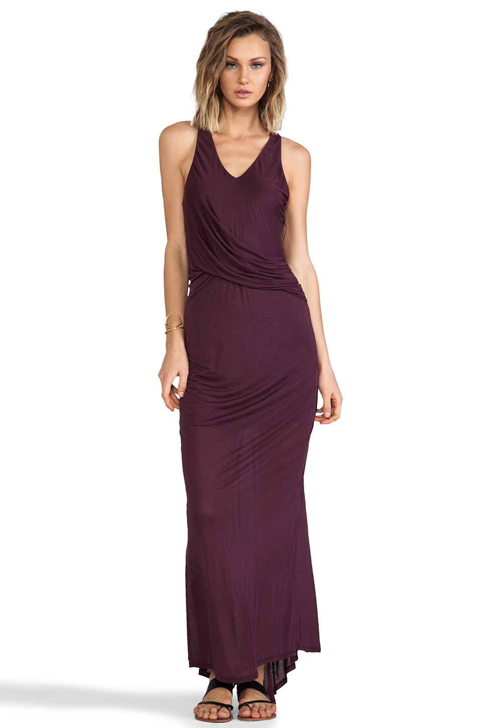 Heather Fishtail Maxi Dress in Aubergine