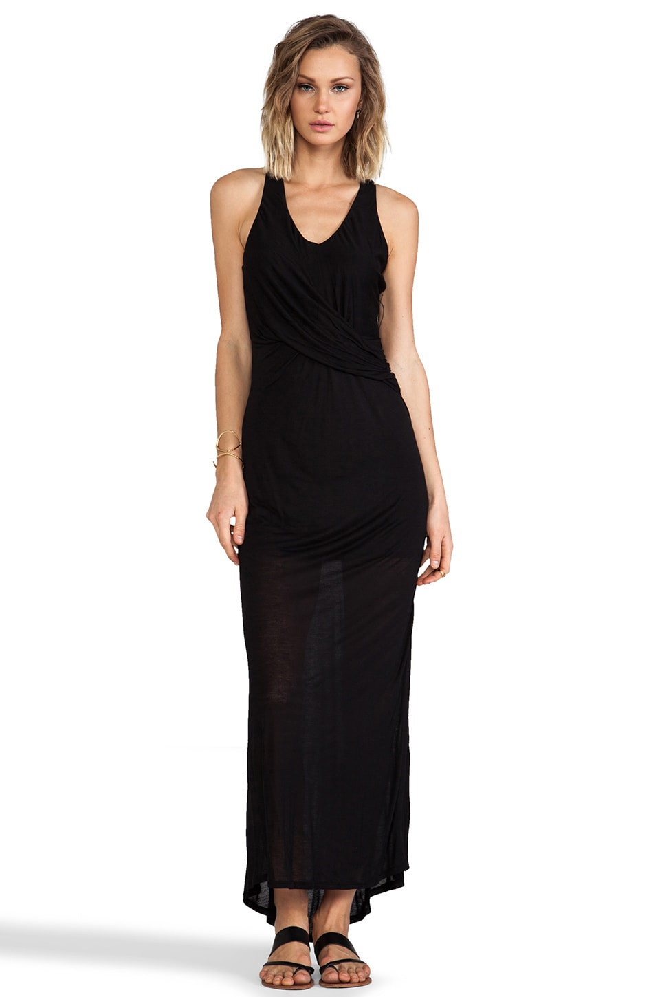 Heather Fishtail Maxi Dress in Black