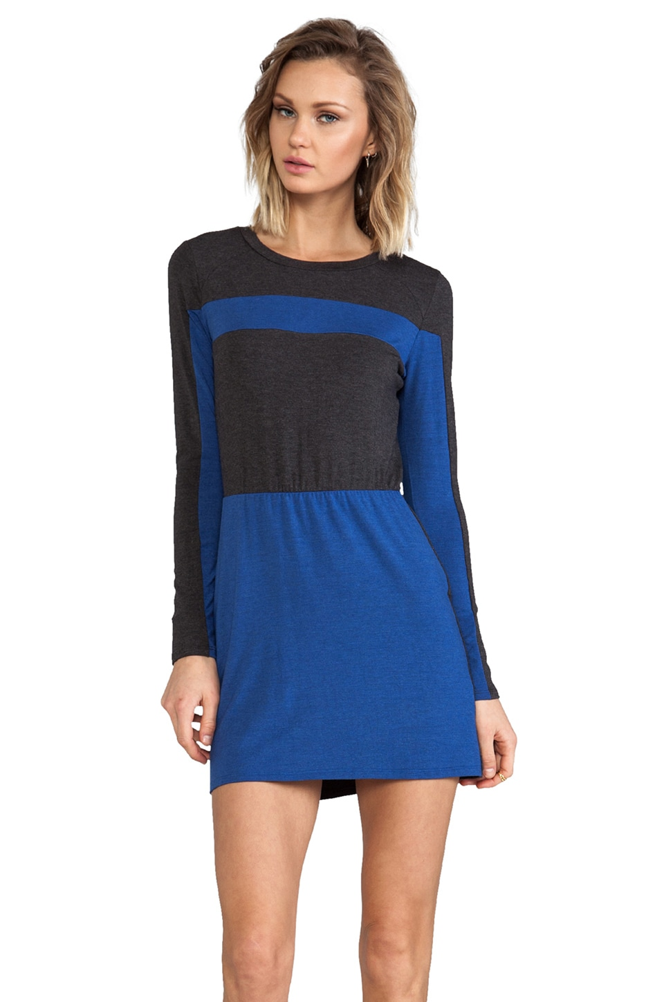 Heather Colorblock Mini Dress in Heather Black/Heather Cobalt