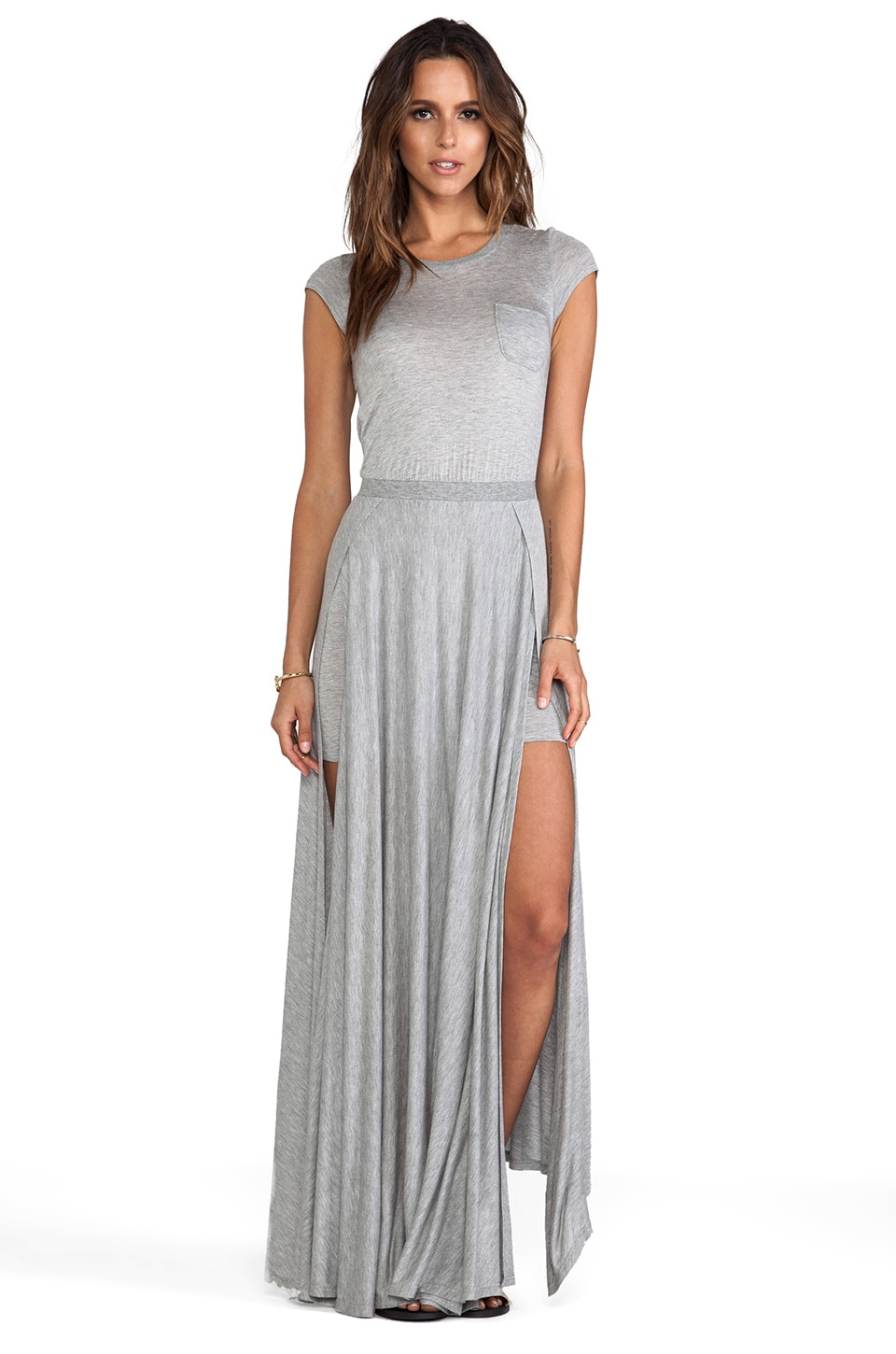 Heather Cross Back Maxi Dress in Light Heather Grey