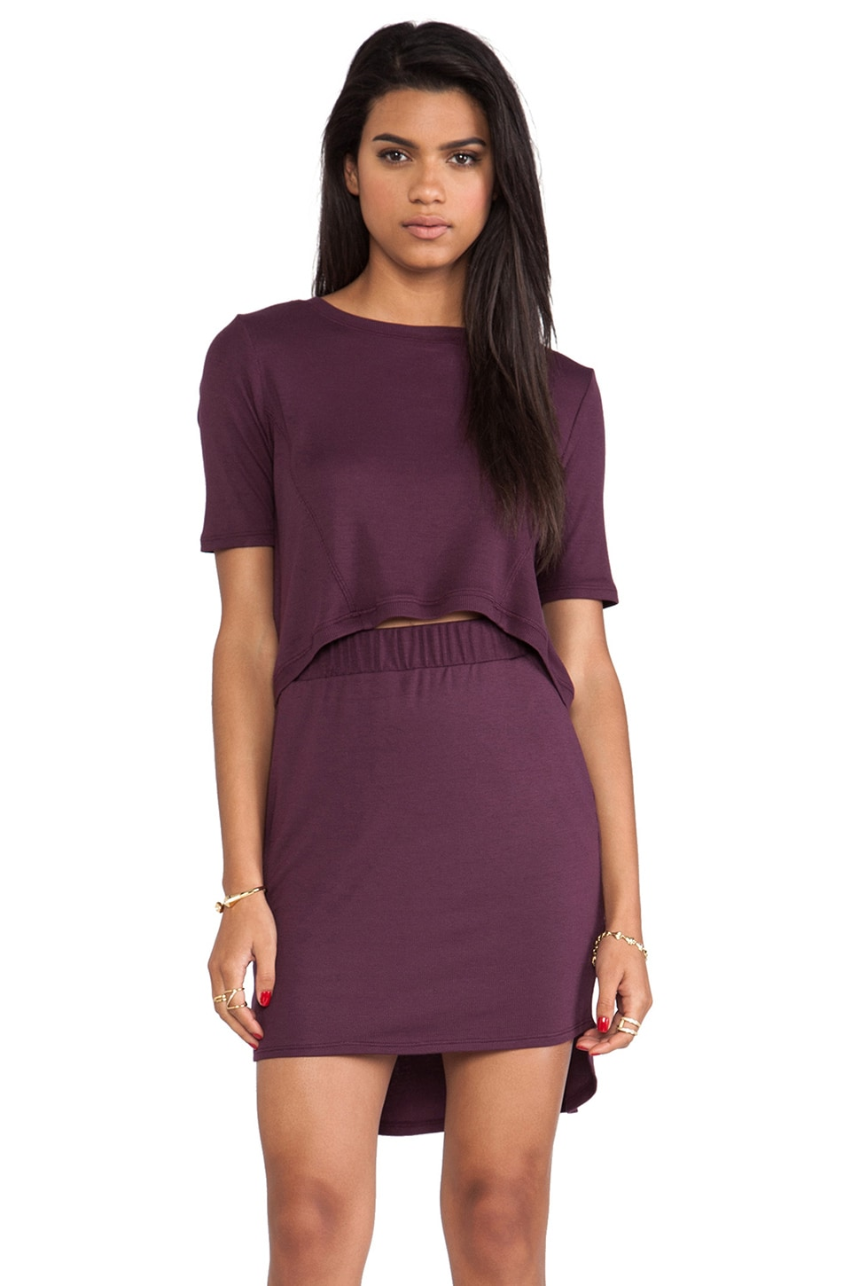 Heather Peekaboo Mini Dress in Aubergine