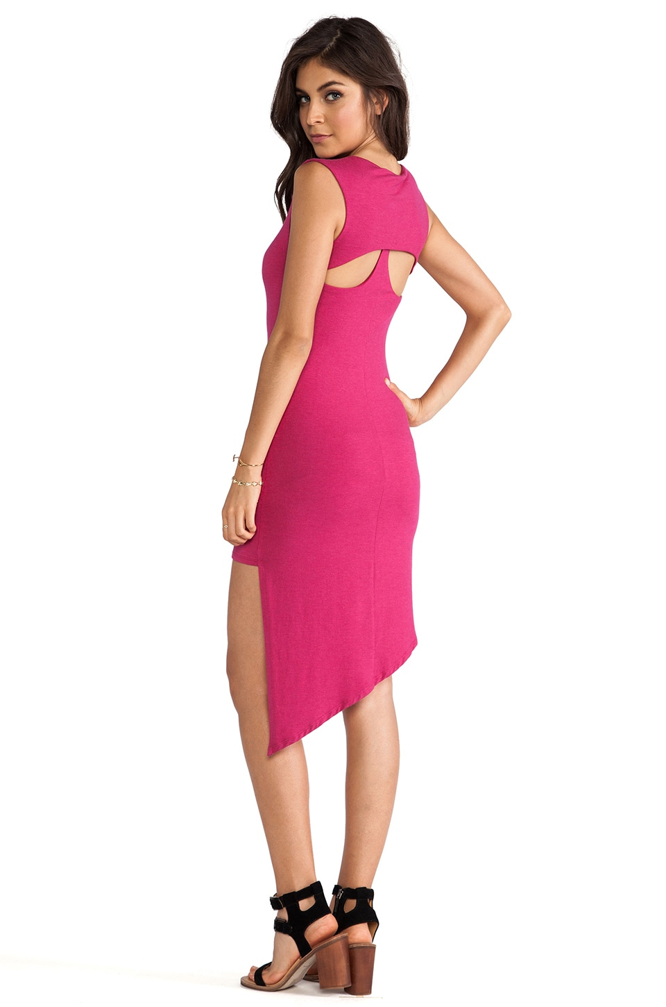 Heather Cutout Back Angle Dress in Heather Azalea