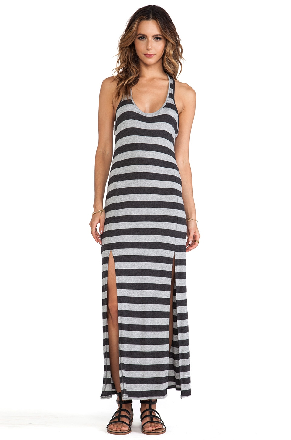 Heather Slit Front Maxi Dress in Heather Black & Light Heather Grey