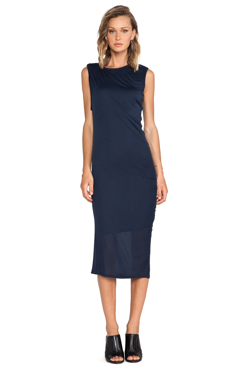 Heather Asymmetrical Drape Midi Dress in Onyx
