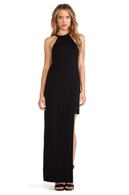 Heather Leather Trim Cutout Dress in Black