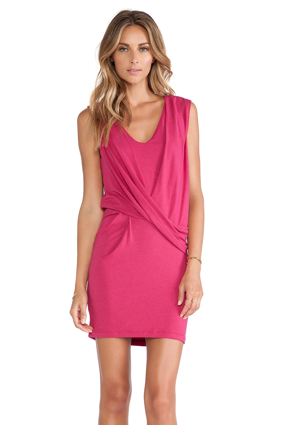 Heather V Neck Tuck Dress in Heather Azalea