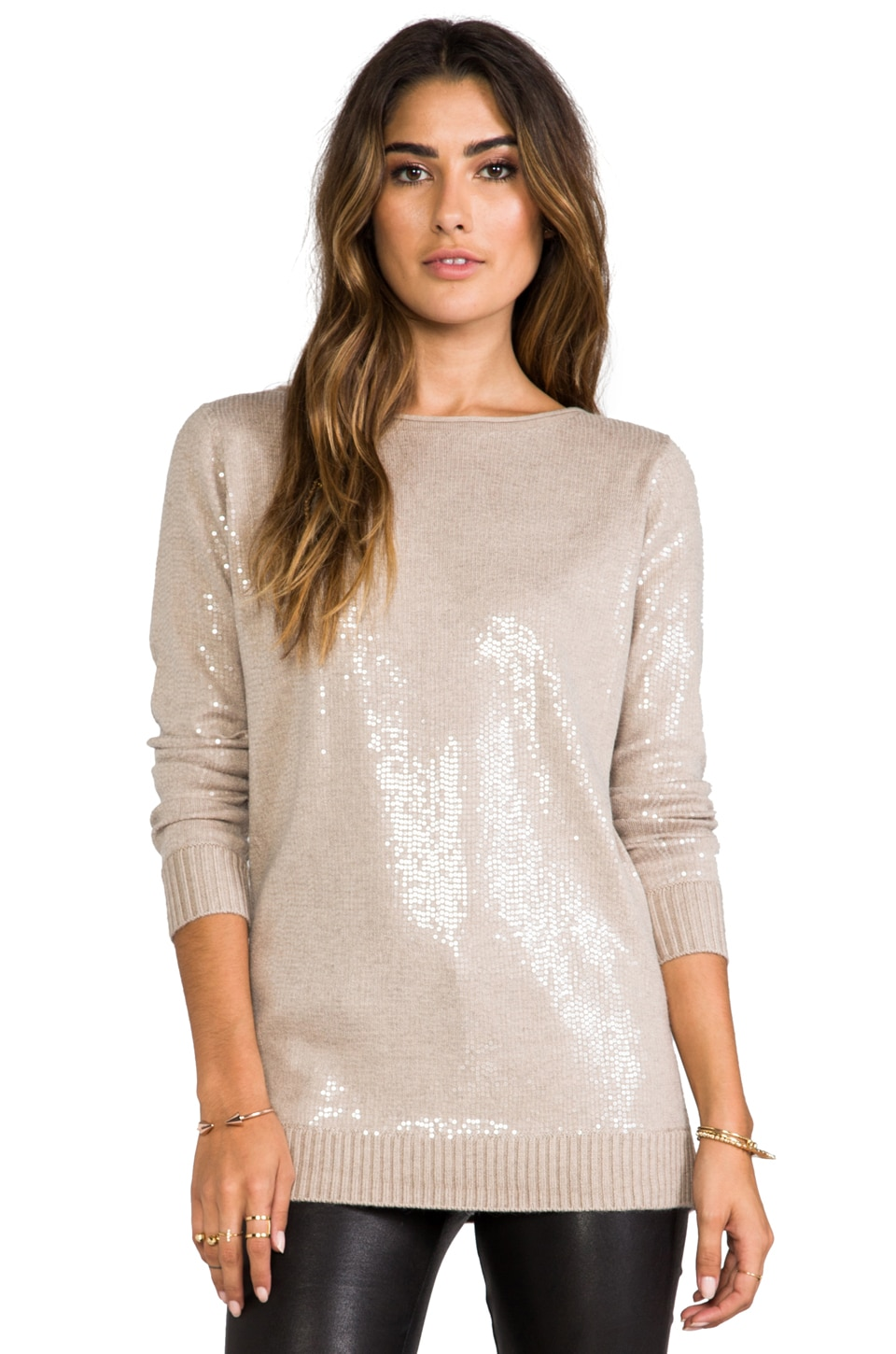 Heather Sequin Sweater in Heather Hazel