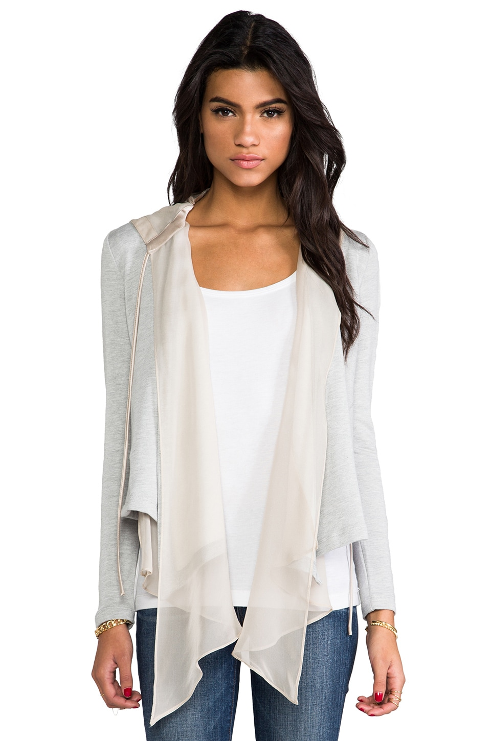 Heather Silk Hooded Cardigan in Light Heather Grey