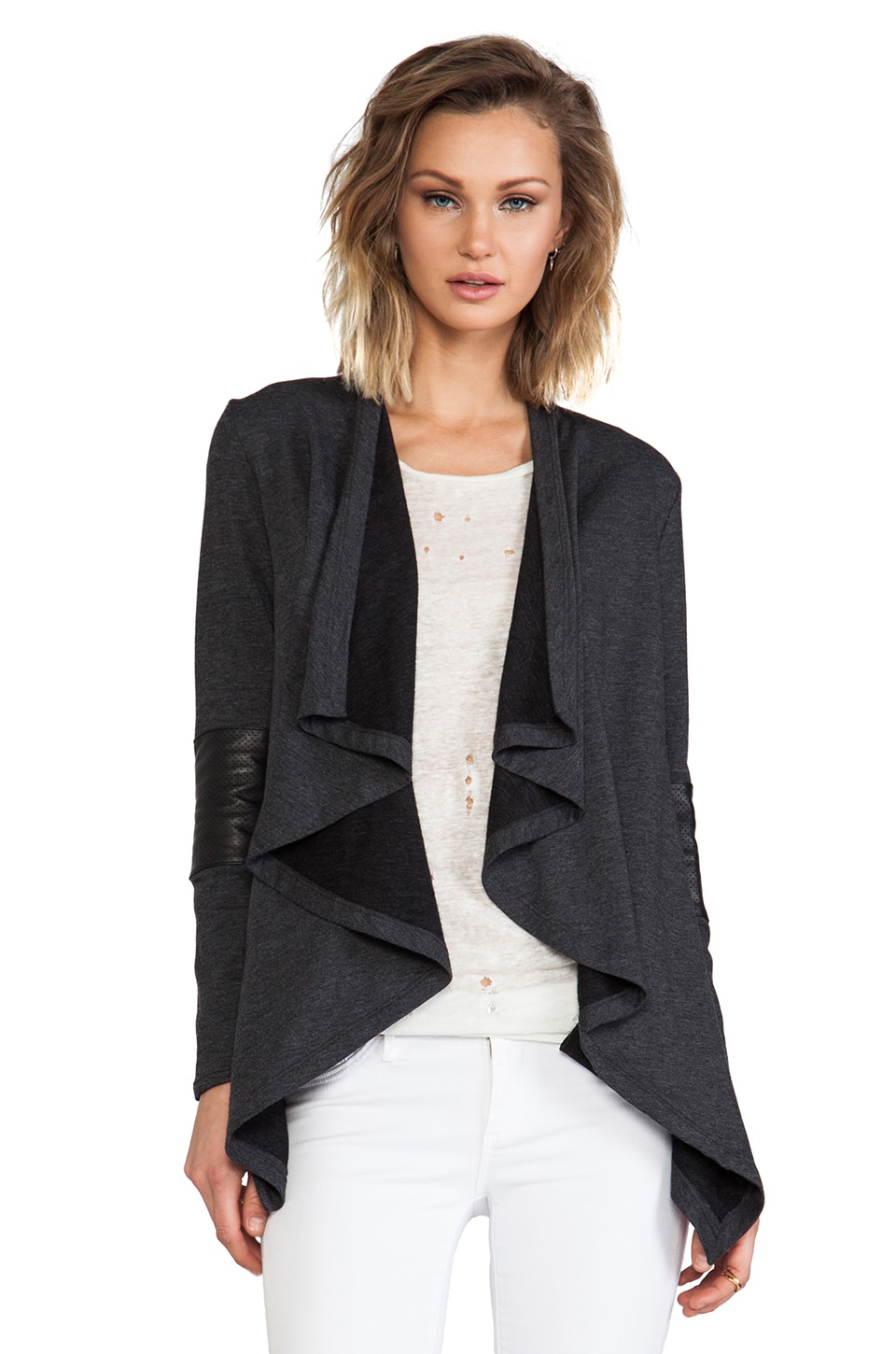Heather Leather Panel Cardi in Heather Charcoal