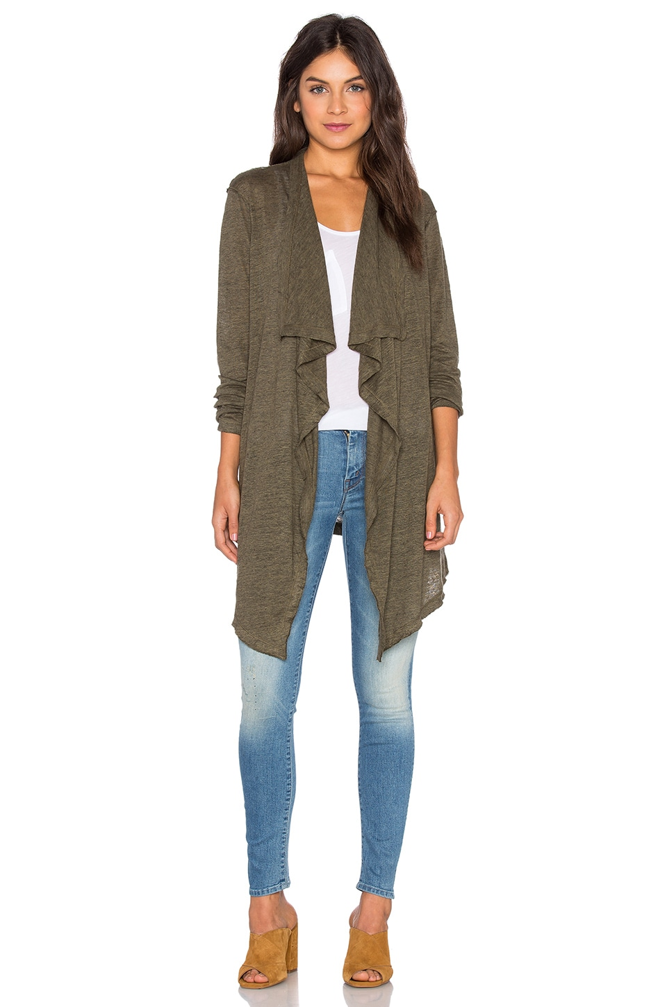 Heather Linen Waterfall Cardigan in Heather Olive