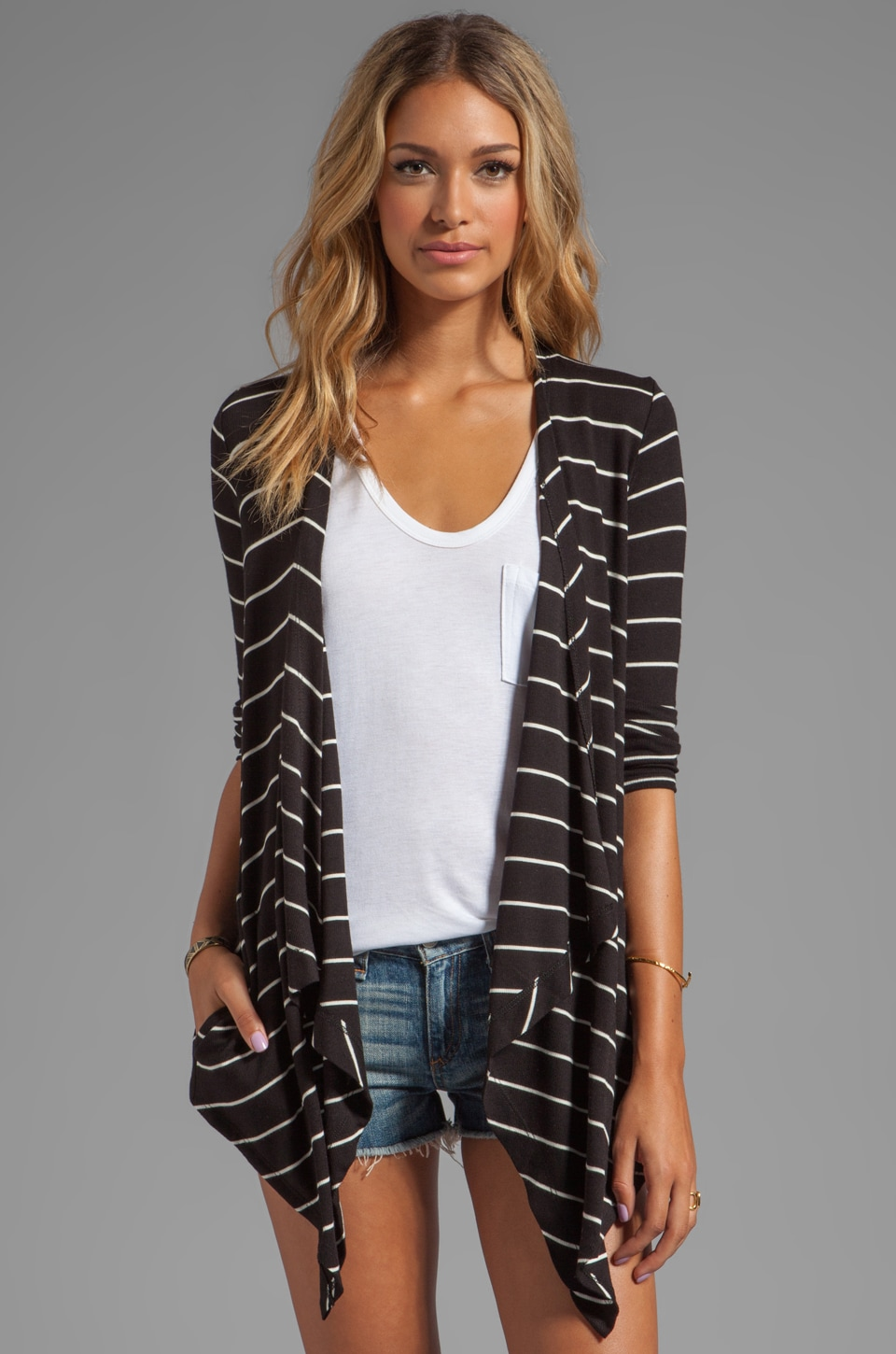 Heather Rib Stripe Cardi in Black/White