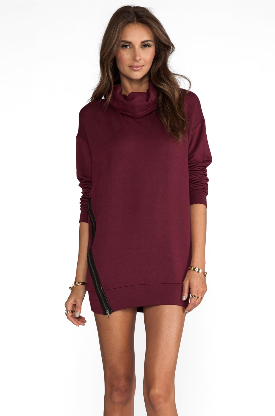 Heather Zipped Pullover in Cranberry