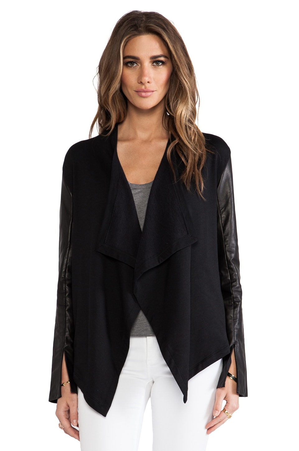 Heather Leather Sleeve Cardi in Black