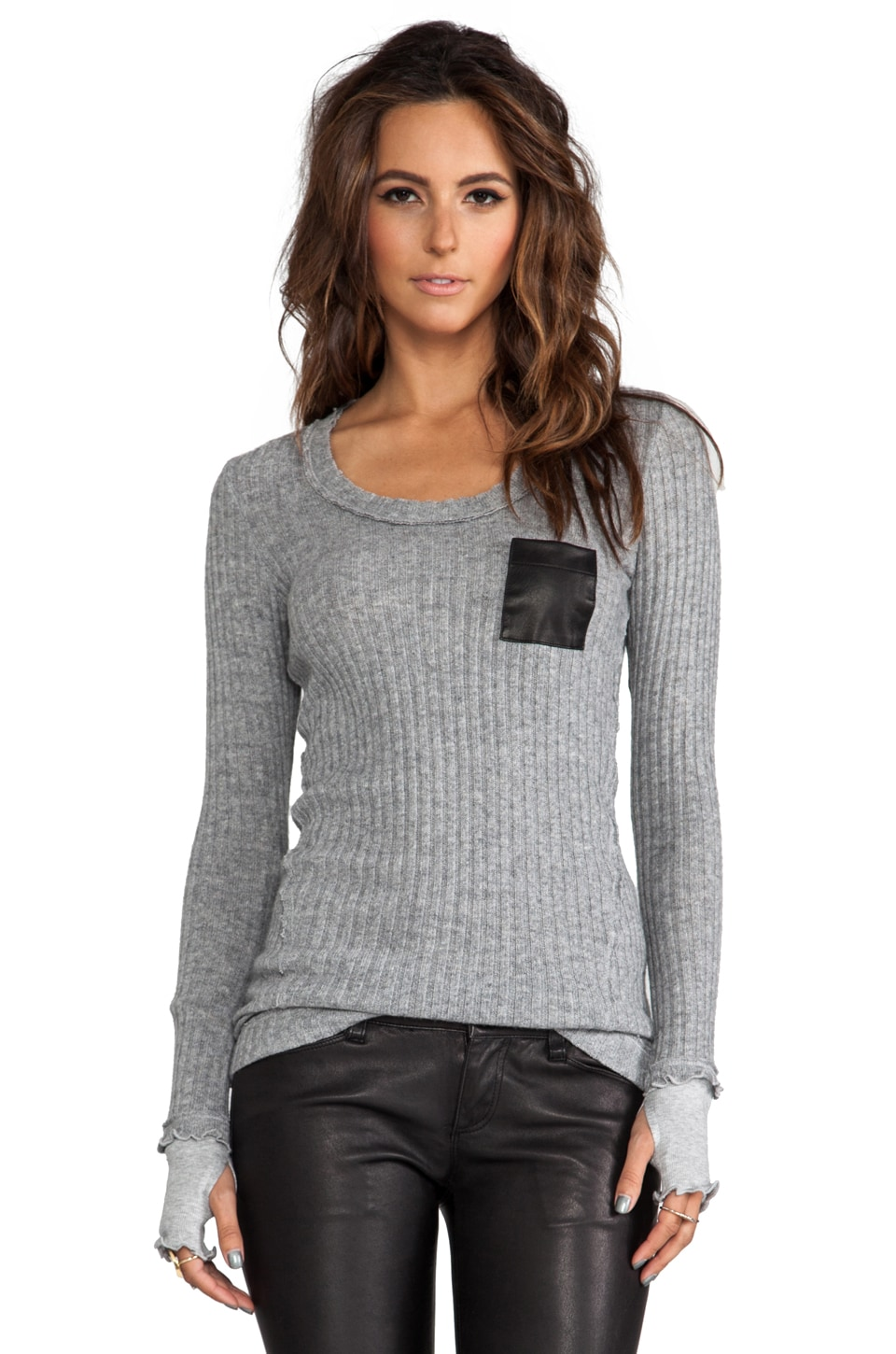 Heather Parini Pocket Sweater in Light Heather Grey