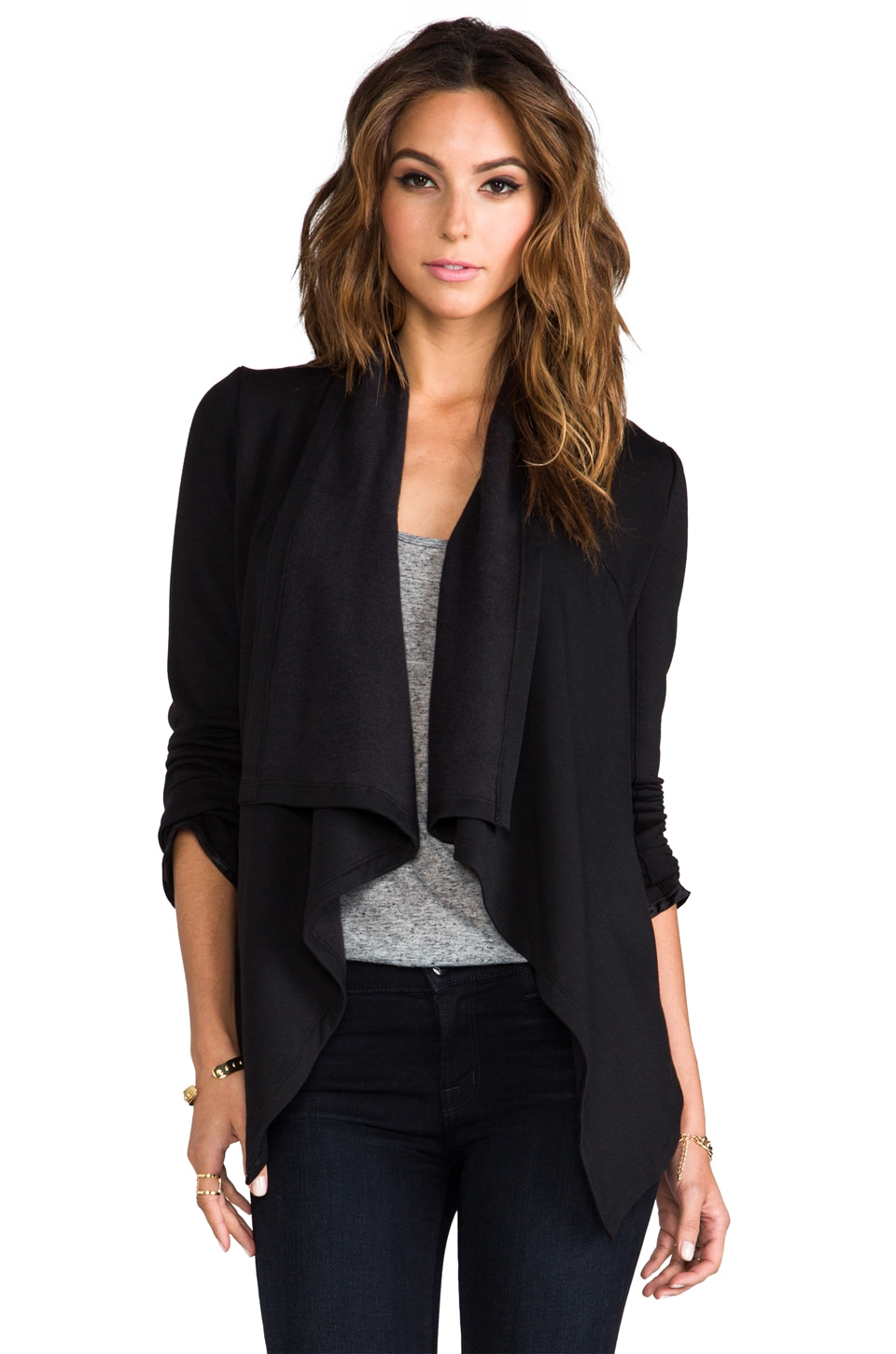 Heather Fleece Inversion Cardi in Black