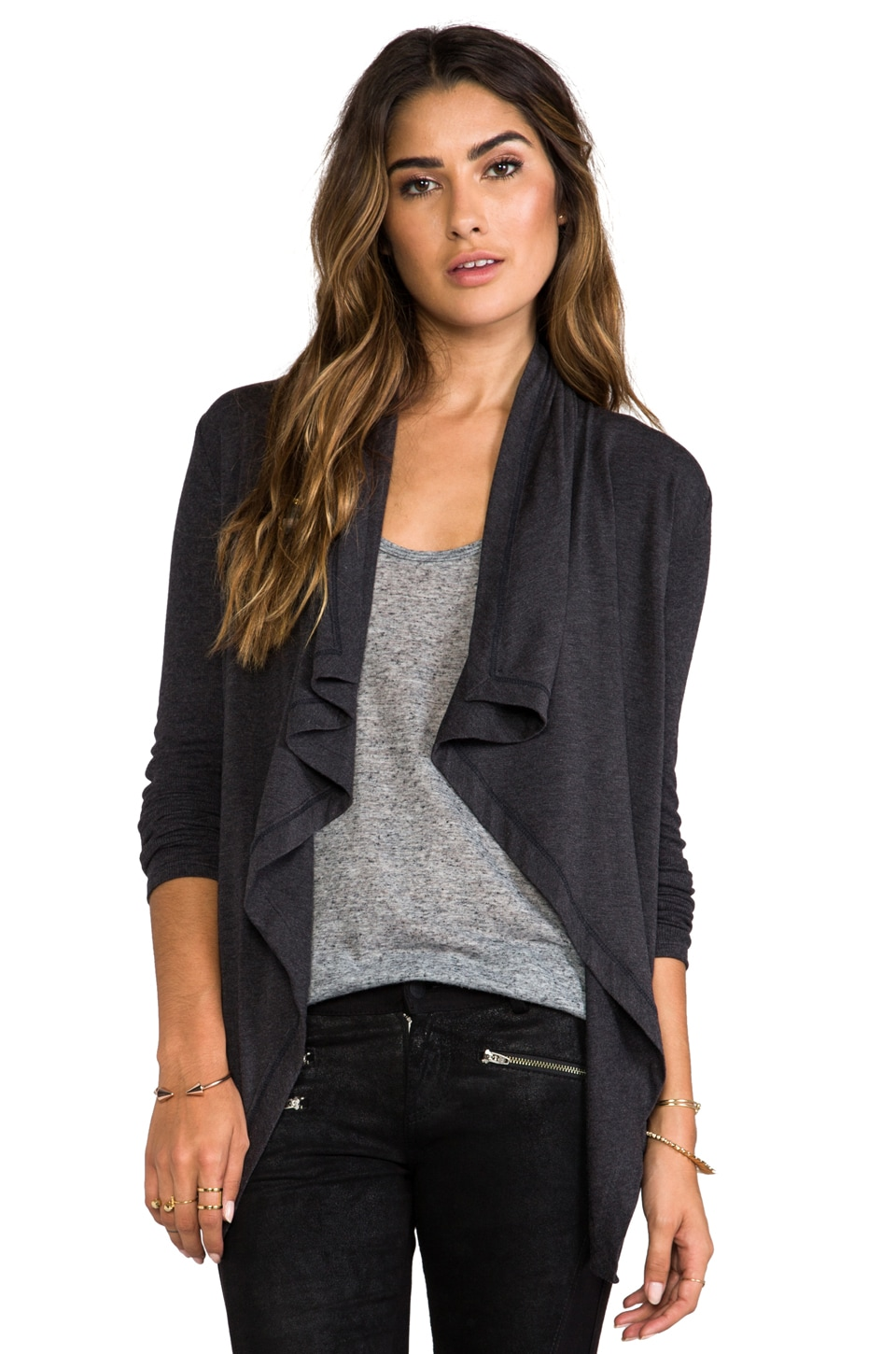 Heather Shirred Back Cardi in Heather Black
