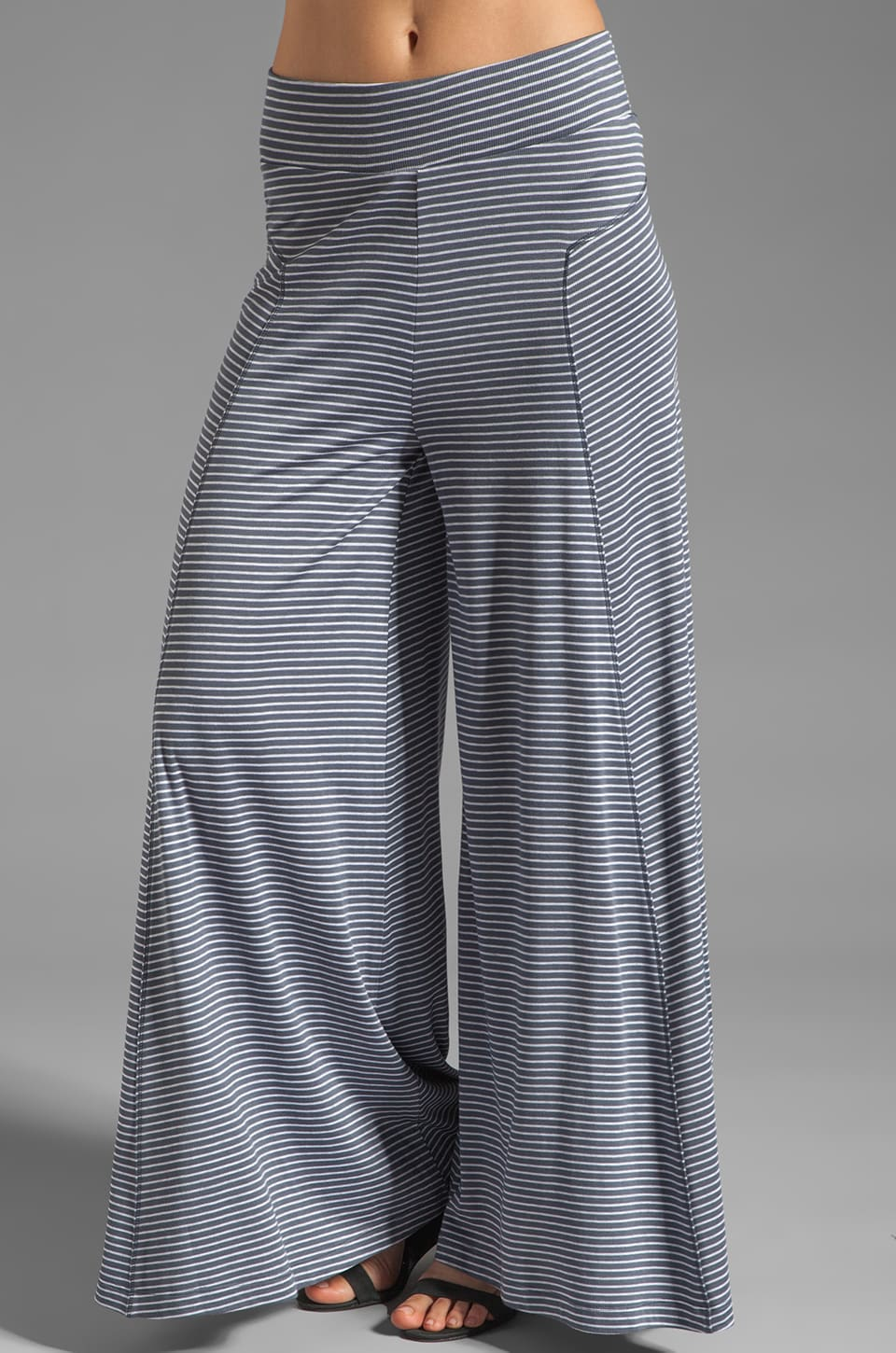 Heather Seamed Palazzo Pant in Granite Pin Stripe