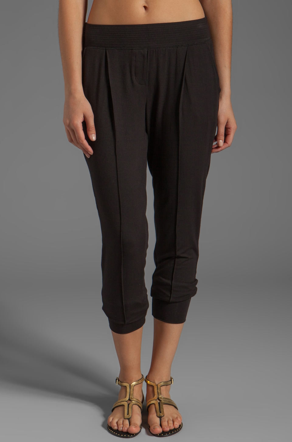 Heather Pintuck Pant in Black