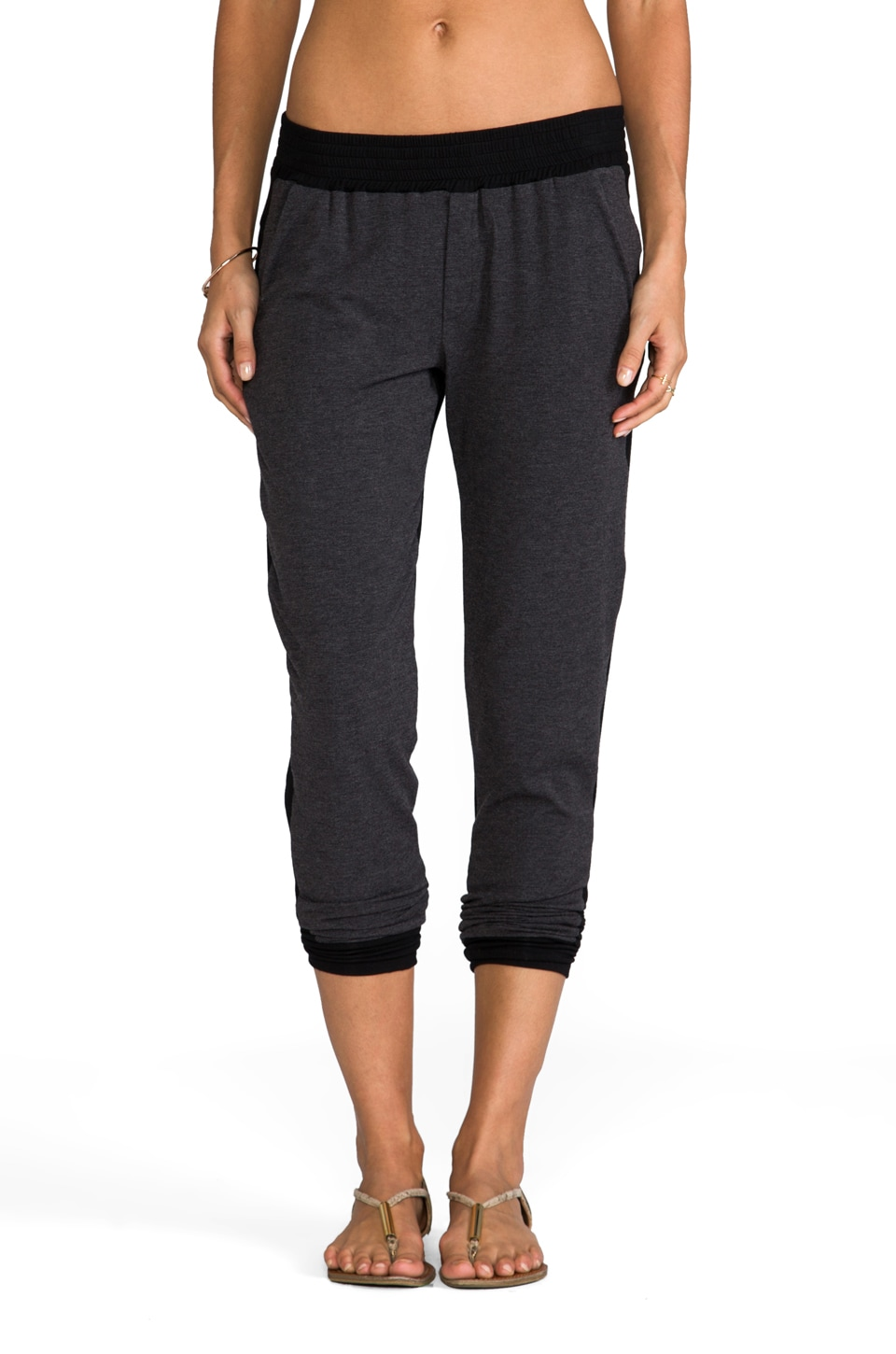 Heather Color Block Pant in Heather Black/Black