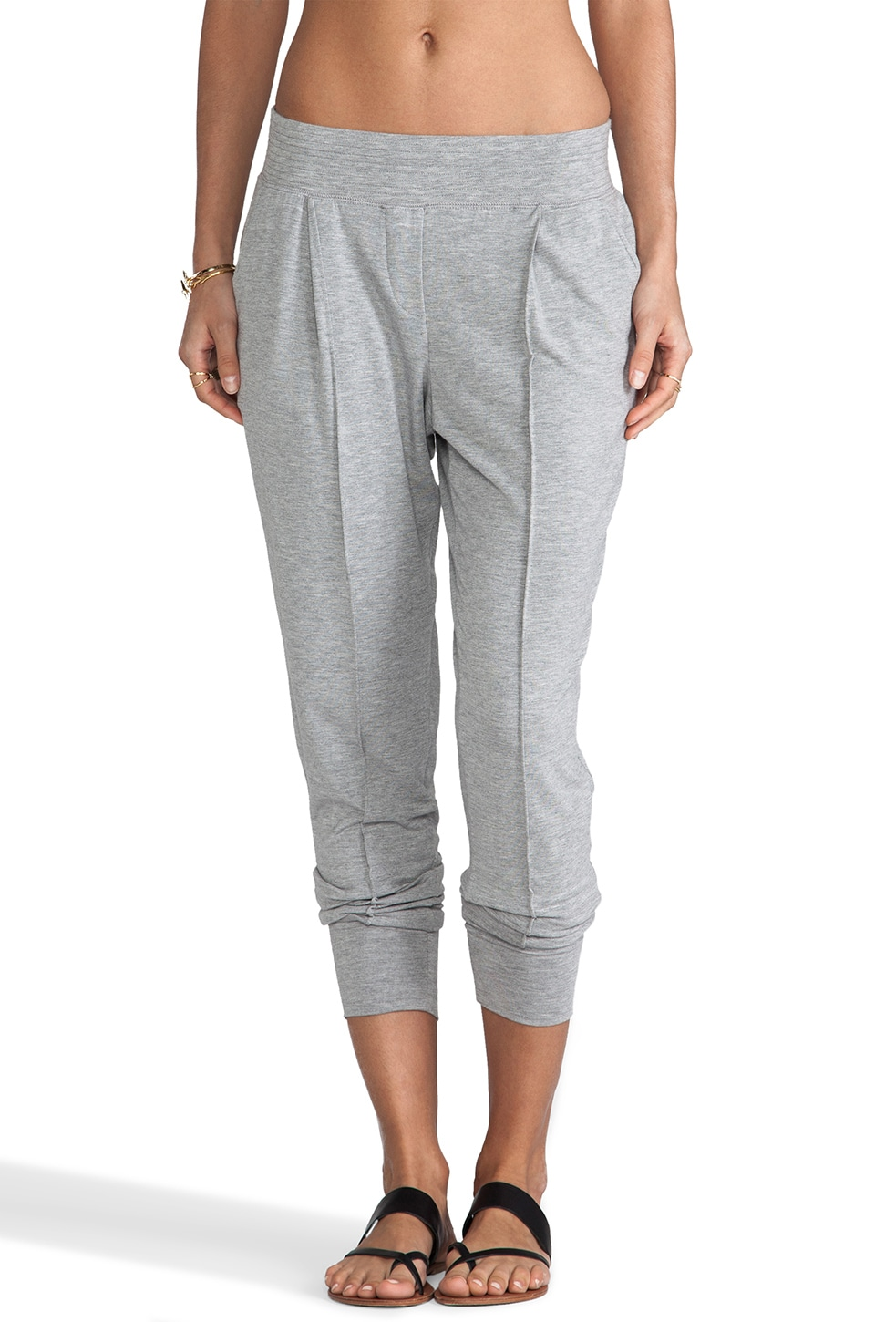 Heather Pintuck Pant in Light Heather Grey