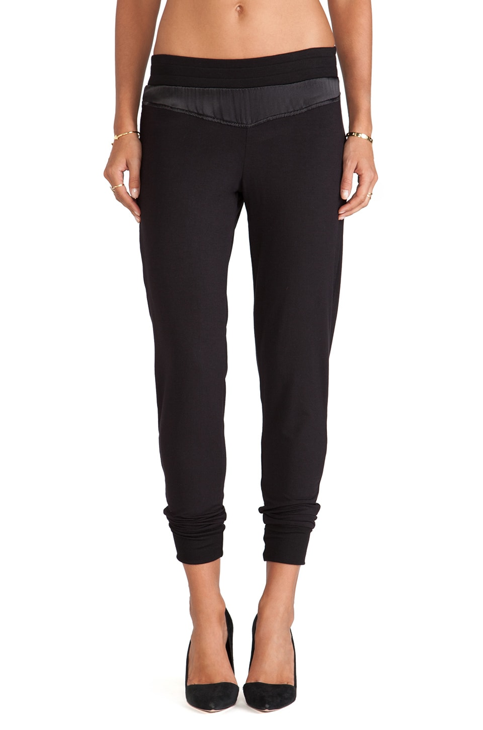 Heather Silk Trimmed Pencil Pant in Black