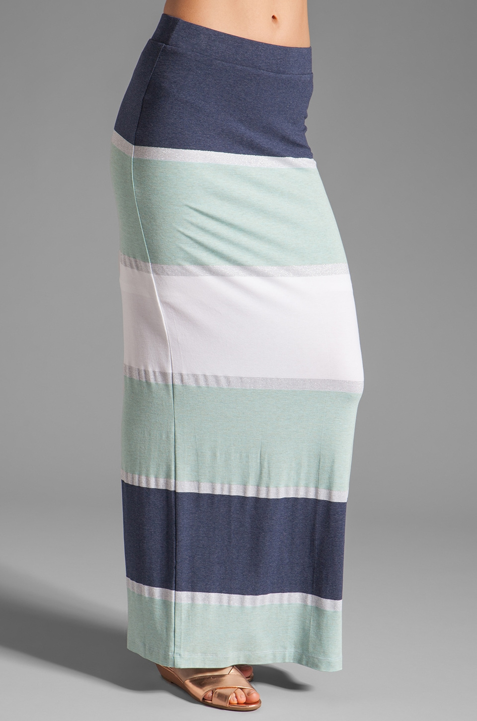 Heather Maxi Skirt with Slit in Aqua