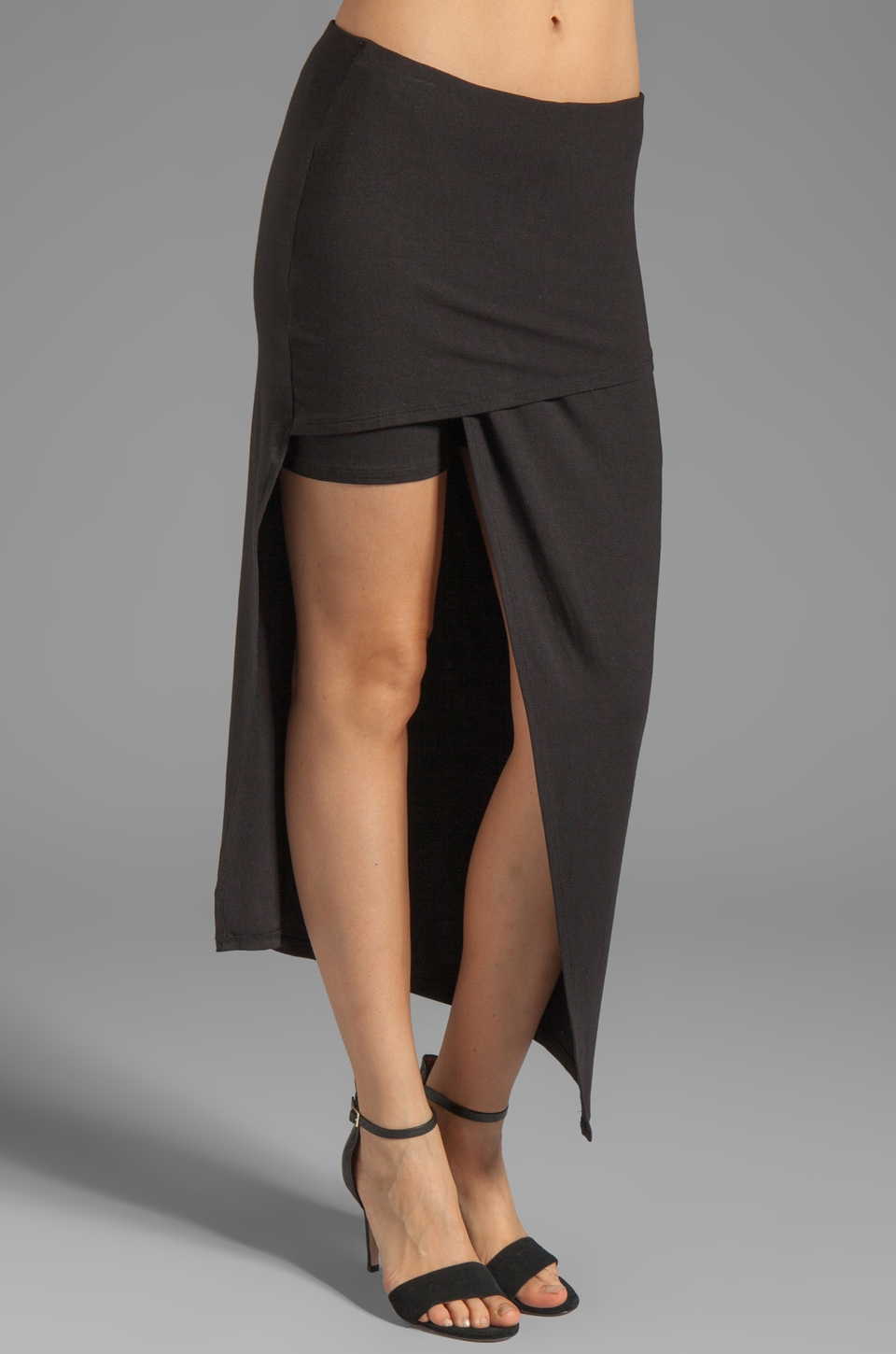 Heather Asymmetrical Wrap Skirt in Black