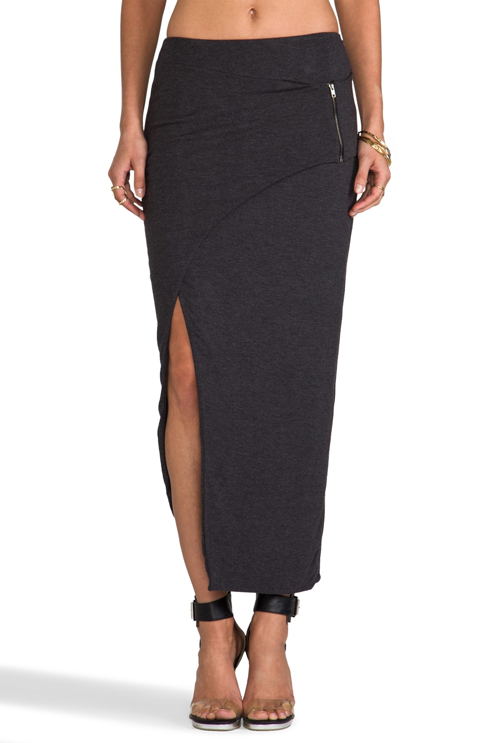 Heather Asymmetrical Zip Skirt in Heather Black