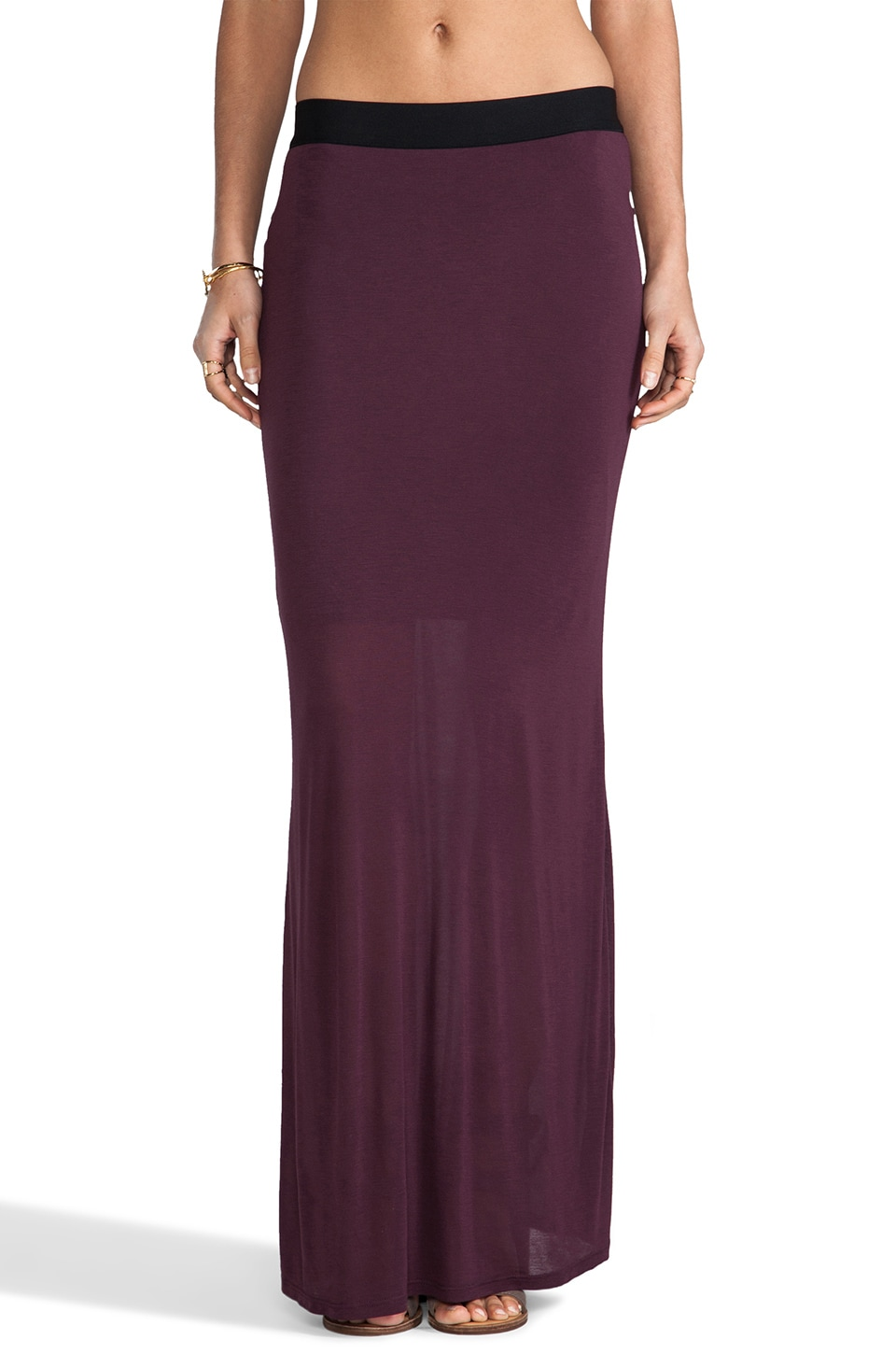 Heather Fishtail Maxi Skirt in Aubergine