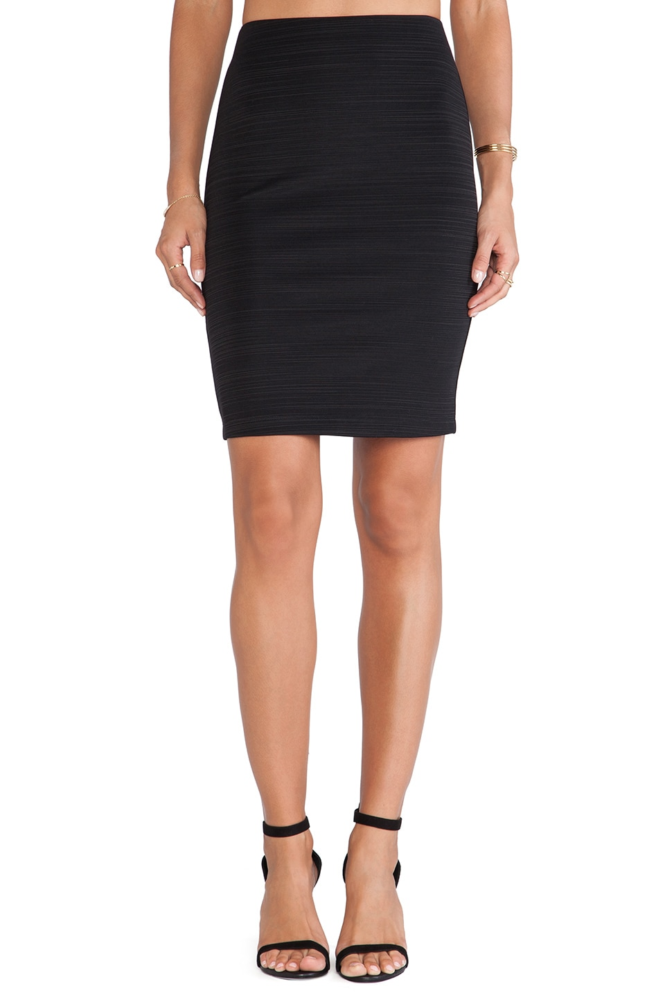 Heather Ponti Pencil Skirt in Black