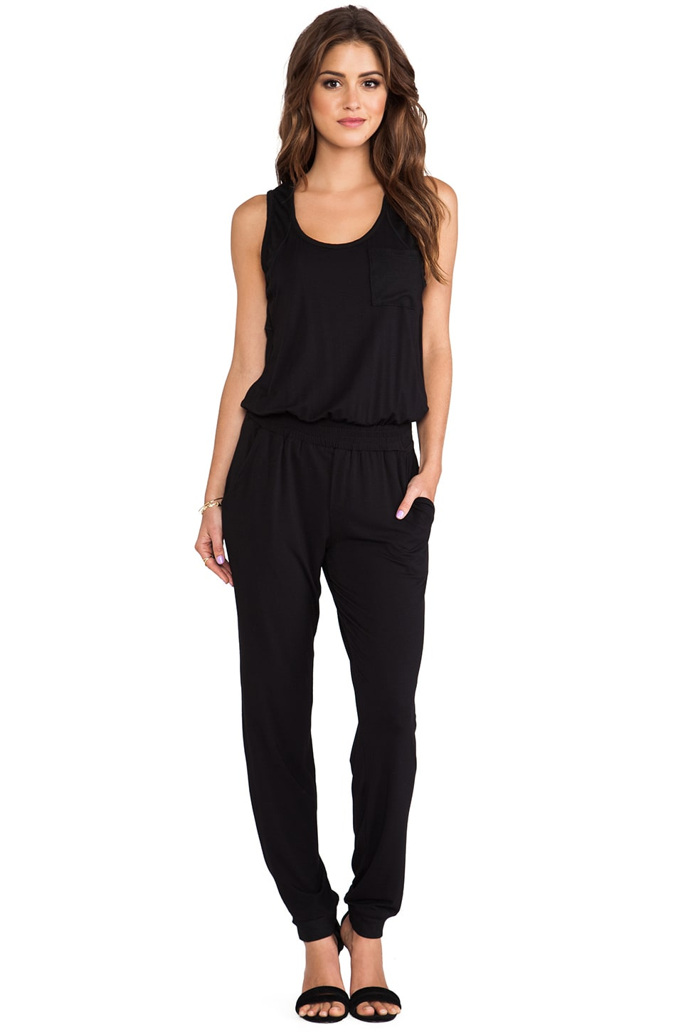 Heather Scoopneck Jumpsuit in Black