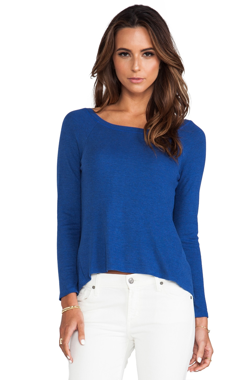 Heather V Back Top in Heather Cobalt