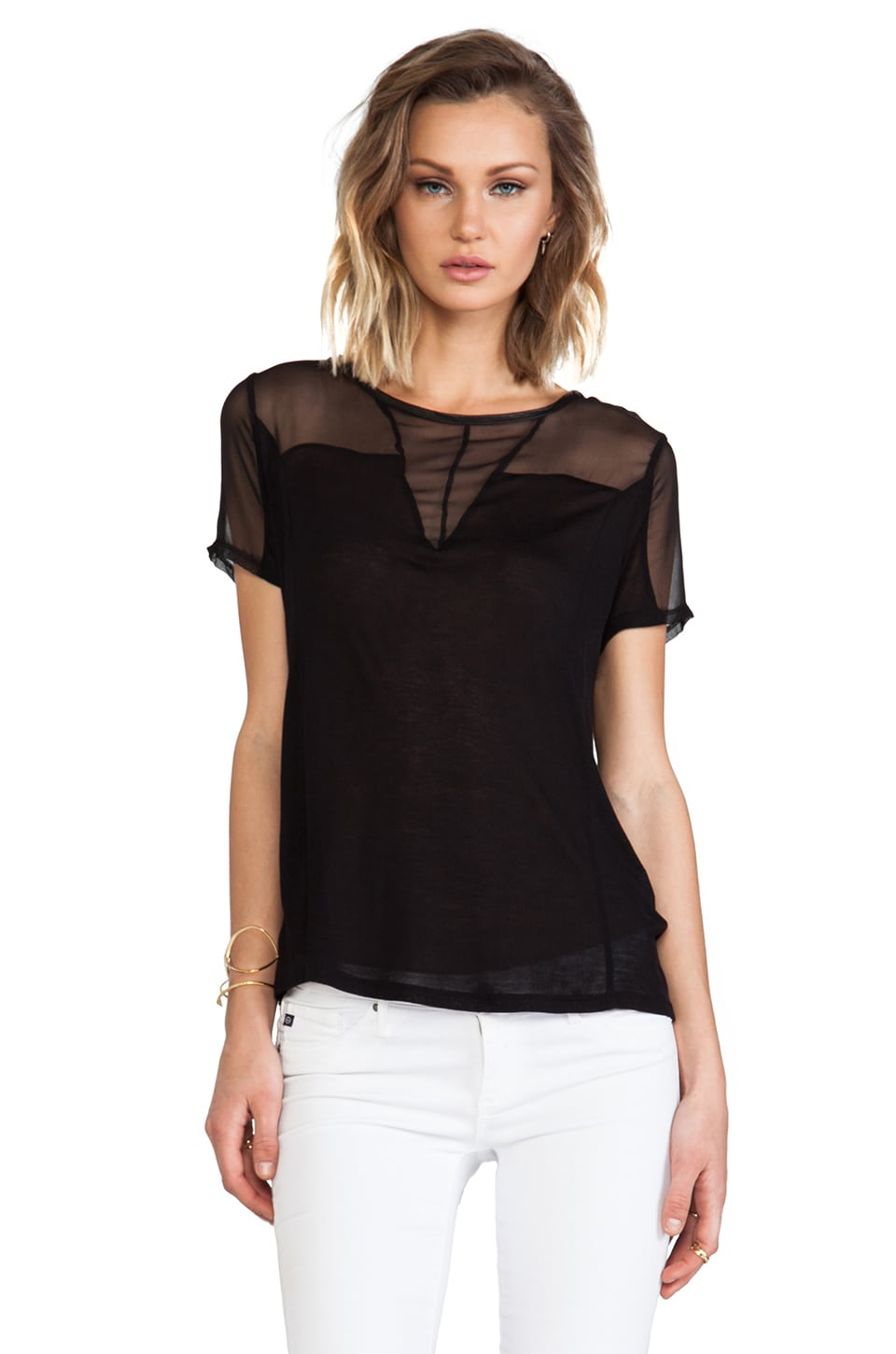 Heather Silk Panel Top in Black