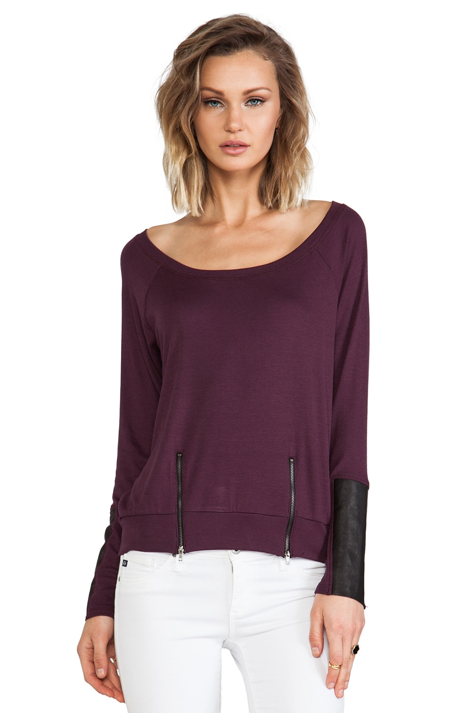 Heather Leather Cuff Zip Top in Aubergine