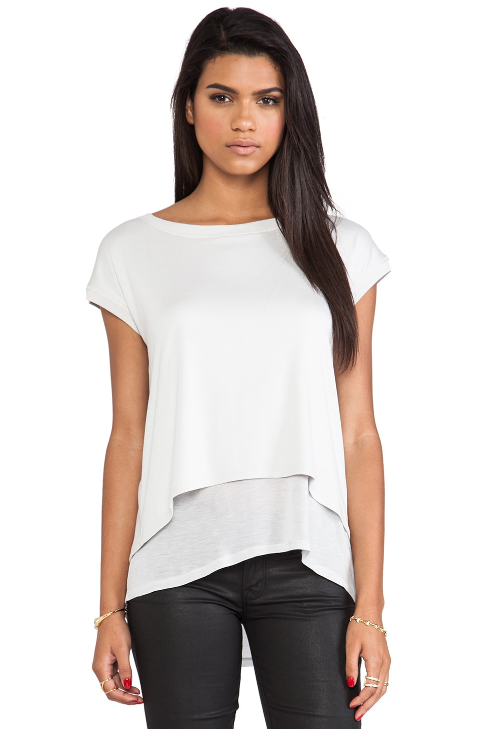 Heather Wrap Back Tee in Quicksilver