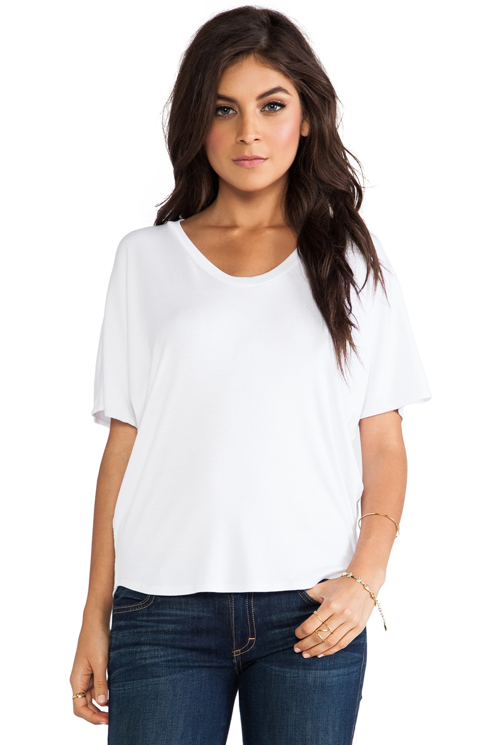 Heather Shirttail Tee in White