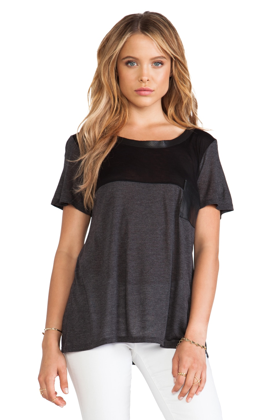 Heather Short Sleeve Leather Trim Tee in Heather Black & Black