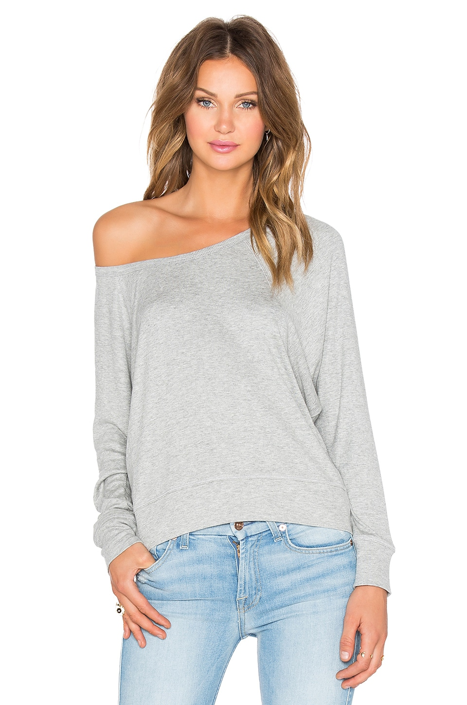 Heather Long Sleeve Slouchy Top in Light Heather Grey