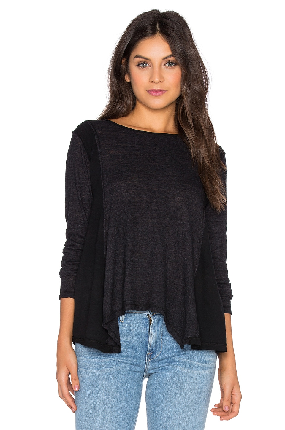 Heather Cotton & Gauze Long Sleeve Swing Top in Black