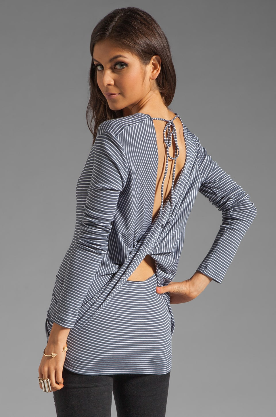 Heather Twist Back Top in Granite Pin Stripe